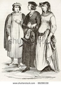 stock-photo-french-bourgeois-in-traditional-medieval-clothes-old-illustration-after-manuscript-of-miracles-de-88286158